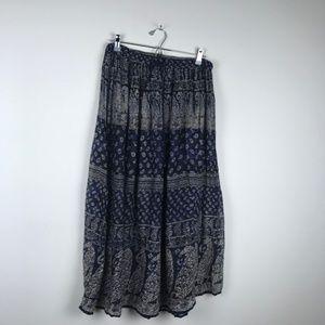 Boho Patten Long Maxi Skirt Tassel Strings OS